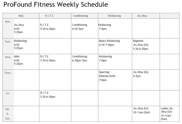 profoundfit 2021 weekly schedule